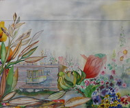 My Dream Garden 22 by Vijay Kiyawat, Fantasy Painting, Watercolor on Paper, Gray color