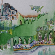 My Dream Garden 25 by Vijay Kiyawat, Fantasy Painting, Watercolor on Paper, Green color