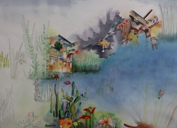 My Dream Garden 23 by Vijay Kiyawat, Fantasy Painting, Watercolor on Paper, Gray color