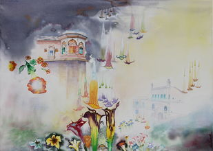 My Dream Garden 20 by Vijay Kiyawat, Fantasy Painting, Watercolor on Paper, Gray color