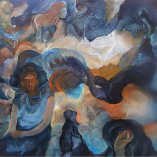 Ananta I by Ravinder Sharma, Conceptual Painting, Acrylic on Canvas, Blue color