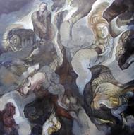 Samarpan by Ravinder Sharma, Conceptual Painting, Acrylic on Canvas, Gray color