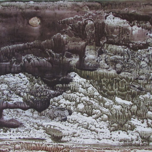 Dream Land II by Rathindranath Chowdhury, Impressionism Painting, Watercolor on Board, Gray color