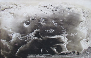 The Cloud by Rathindranath Chowdhury, Impressionism Painting, Watercolor on Board, Gray color
