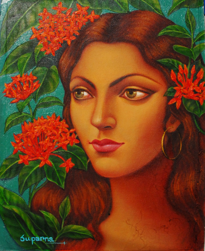 Misti by Suparna Dey, Realism Painting, Oil on Canvas, Brown color
