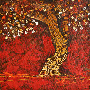 Tree 1 by Rahul Dangat, Abstract Painting, Acrylic on Canvas, Brown color