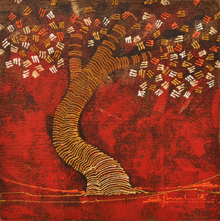 Tree 2 by Rahul Dangat, Abstract Painting, Acrylic on Canvas, Brown color