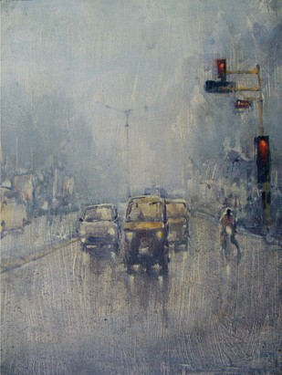 Untitled by Tanoy Choudhury, Impressionism Painting, Acrylic on Canvas, Gray color