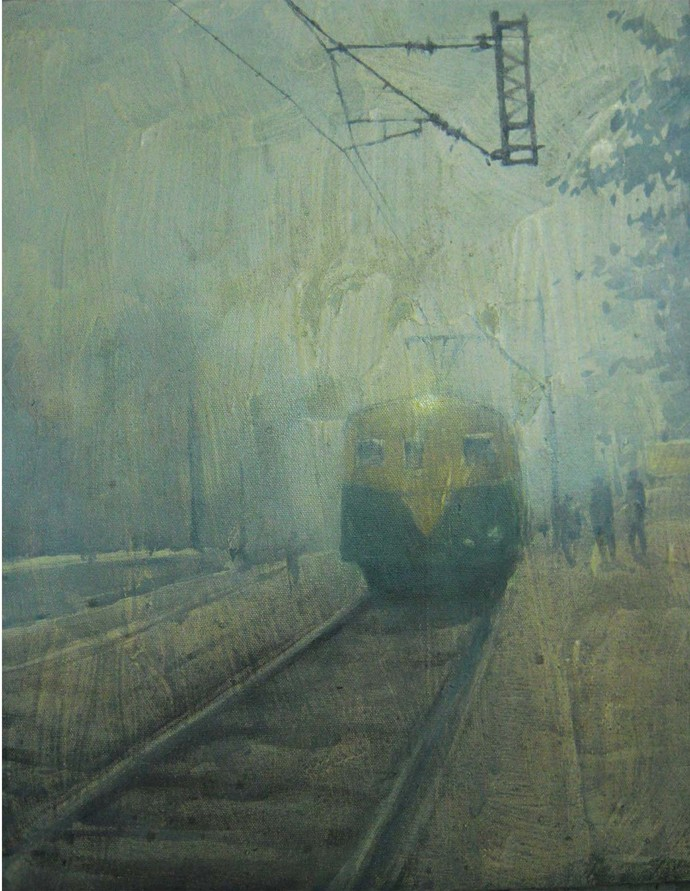 Untitled by Tanoy Choudhury, Impressionism Painting, Acrylic on Canvas, Green color
