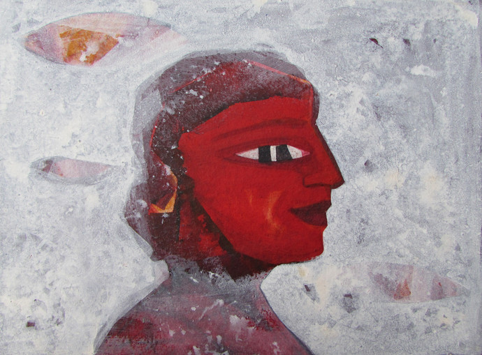 Fisherman by Partha Chowdhury, Painting, Acrylic on Board, Gray color
