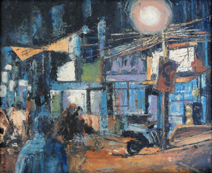 Blues by Kiran Kumari B, Impressionism Painting, Oil on Canvas, Green color