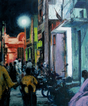 Temple Light by Kiran Kumari B, Impressionism Painting, Oil on Canvas, Blue color