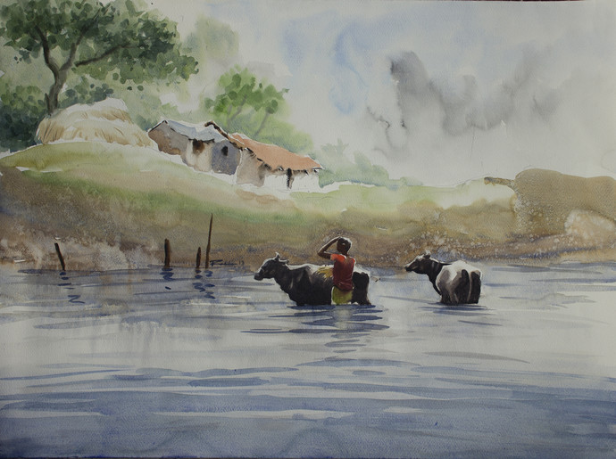 Bath by Raktim Chatterjee, Painting, Watercolor on Paper, Gray color