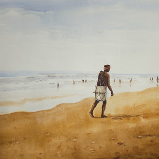 Fisherman by Raktim Chatterjee, Painting, Watercolor on Paper, Gray color