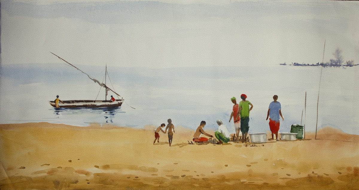 Fishermen by Raktim Chatterjee, Painting, Watercolor on Paper, Beige color