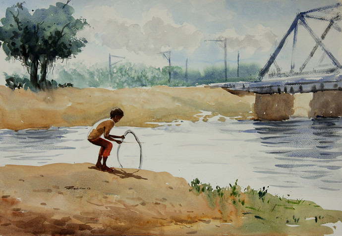 Boy Playing with Tyre by Raktim Chatterjee, Painting, Watercolor on Paper, Beige color