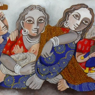 Family by Jayshree P Malimath, Traditional Painting, Acrylic on Canvas, Brown color