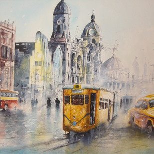 Kolkata tram and taxi 1 by Surajit Chakraborty, Impressionism Painting, Watercolor on Paper, Beige color