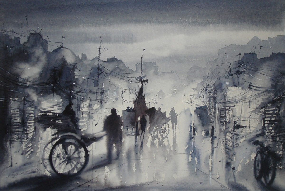 Kolkata Before an Evening Happens by Surajit Chakraborty, Impressionism Painting, Watercolor on Paper, Gray color