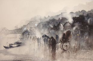 Kolkata old part by the River Ganga by Surajit Chakraborty, Impressionism Painting, Watercolor on Paper, Beige color