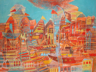 composition 1 by Surajit Chakraborty, Impressionism Painting, Acrylic on Paper, Brown color