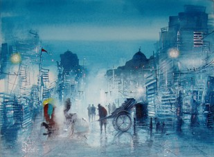 City Behind the Lane by Surajit Chakraborty, , , Blue color