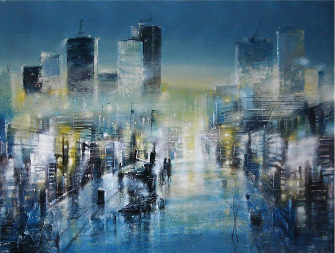 An Evening in Mumbai by Surajit Chakraborty, Impressionism Painting, Acrylic & Ink on Canvas, Green color