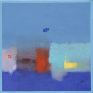 Evolving Phases by Ganpat N Bhadke, Abstract Painting, Acrylic on Canvas, Blue color