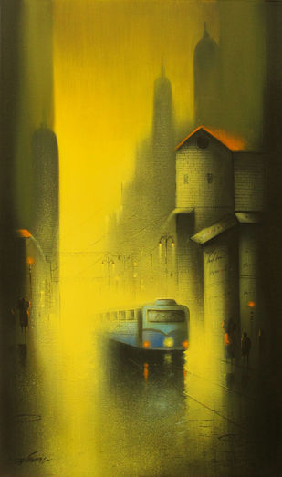 Cityscape by Somnath Bothe, , , Green color