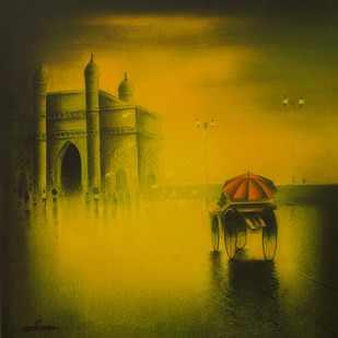 Gateway of India by Somnath Bothe, Impressionism Painting, Mixed Media on Canvas, Brown color