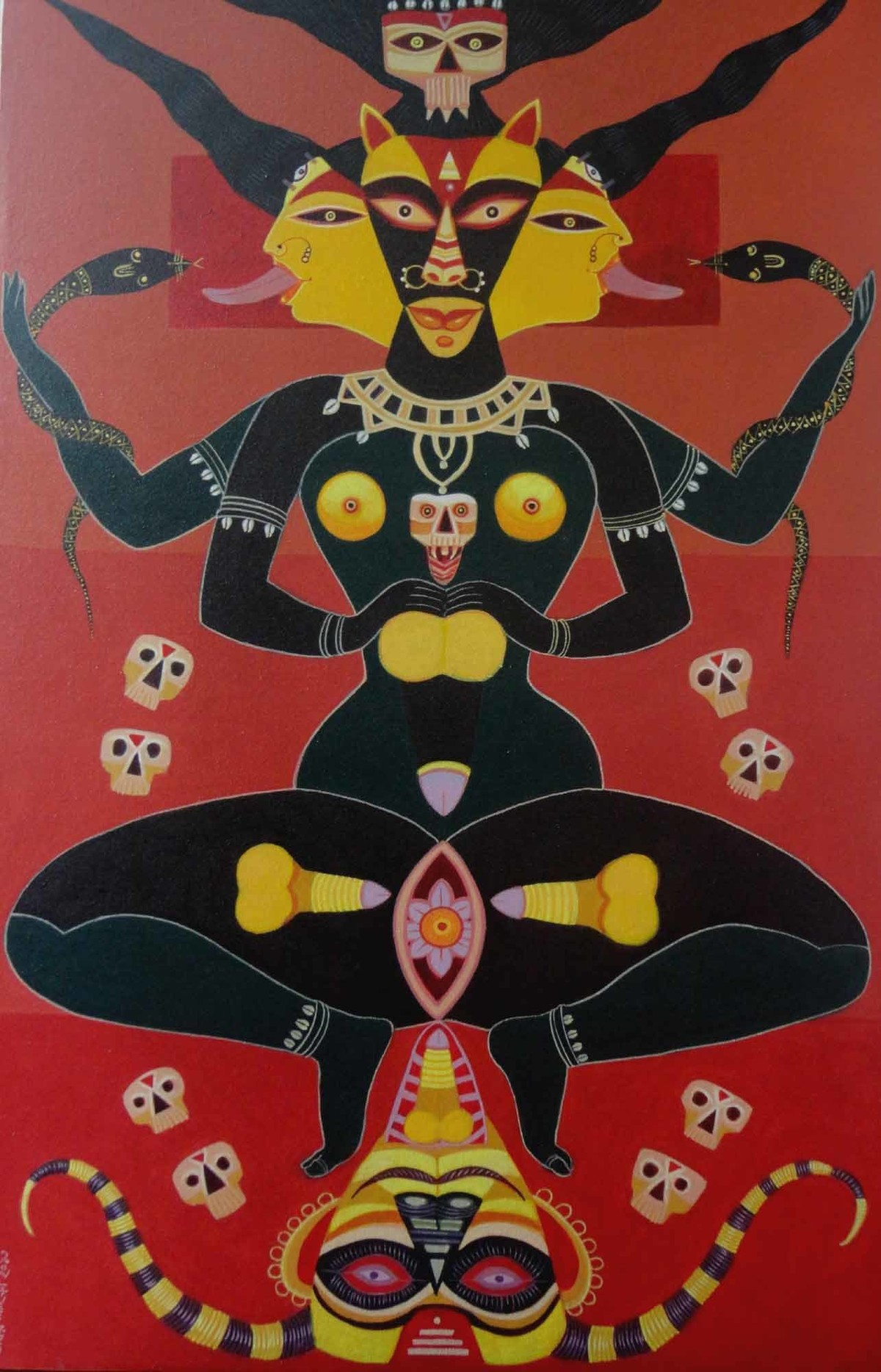 Tantrik Deity by Bhaskar Lahiri, Folk Painting, Acrylic on Canvas, Brown color
