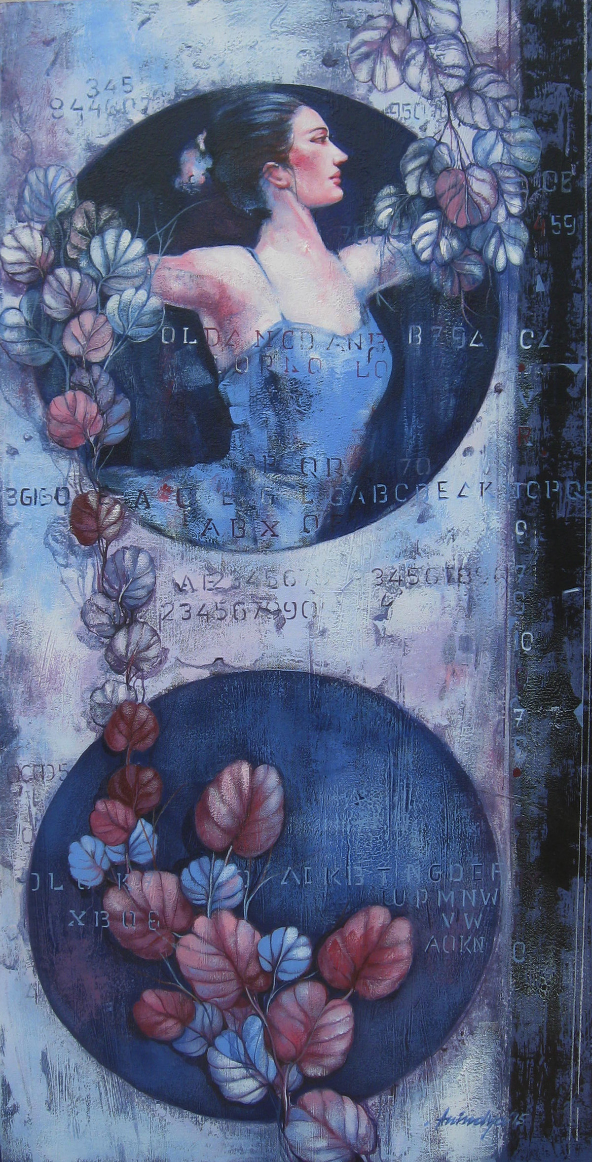Ballerina Series by Anindya Mukherjee, Painting, Acrylic on Canvas, Blue color