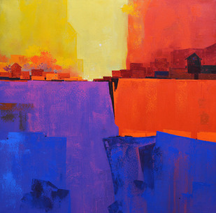 Village in the Hills - Painting by Gangu Gouda