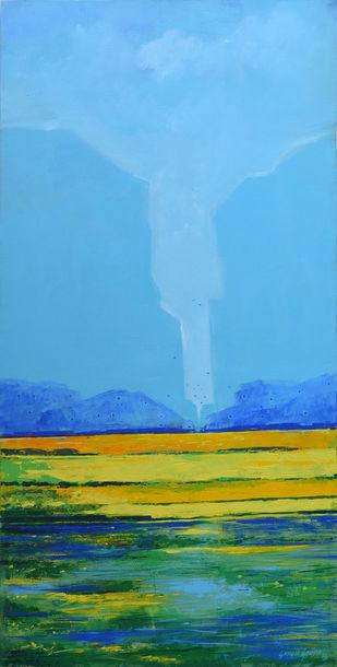 Landscape by Gangu Gouda, Impressionism Painting, Acrylic on Canvas, Cyan color