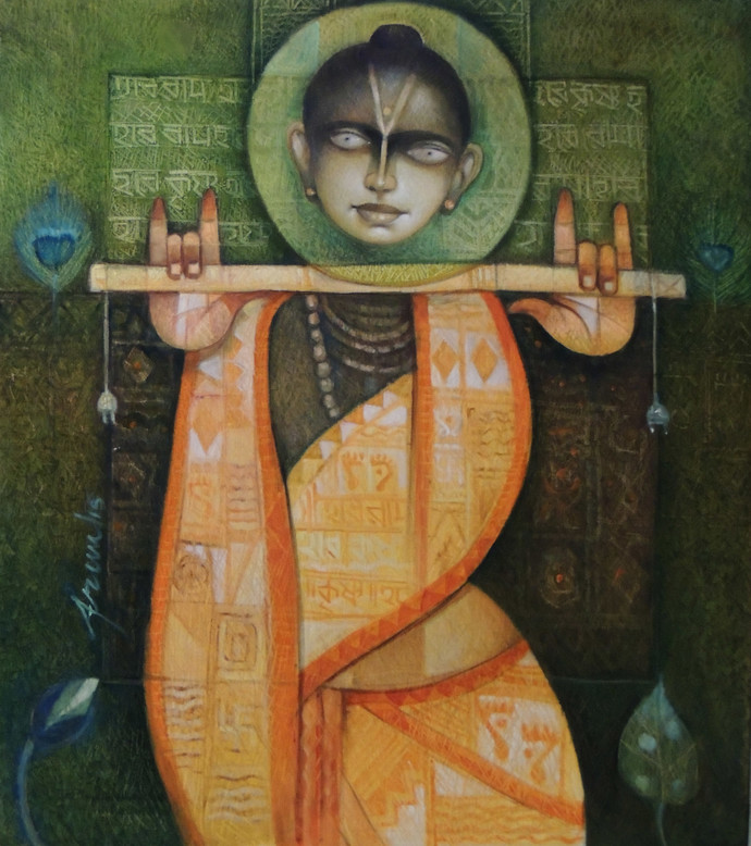 Krishna of Bengal Tradition by Arun Kumar Samadder, Conceptual Painting, Oil on Canvas, Brown color