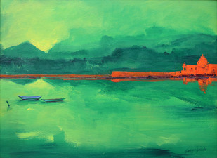 Landscape by Gangu Gouda, , , Green color