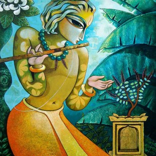 Bansidhar 45 by Ramchandra Pokale, Painting, Acrylic on Canvas, Green color