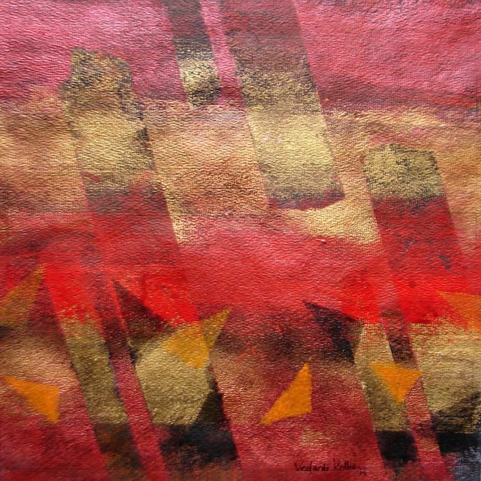 Element 13 by Vedanti S Kolhe, Abstract Painting, Acrylic on Paper, Brown color