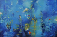 Layers Of Time by Ram Partap Verma, Conceptual Painting, Acrylic on Canvas, Blue color