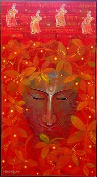 Spring Dream by Atin Mitra, Impressionism Painting, Acrylic on Canvas, Red color