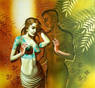 Relation 10 by Prashanta Nayak, Decorative Painting, Acrylic on Canvas, Brown color