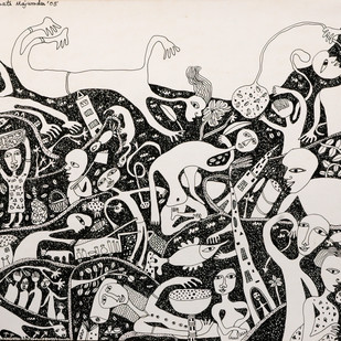 Nostalgia - I by Indranath Majumdar, Conceptual Drawing, Pen & Ink on Paper, Gray color