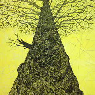 Tree of Life (1) by Priyabrata Roy Chowdhury, Illustration Painting, Acrylic & Ink on Canvas, Green color