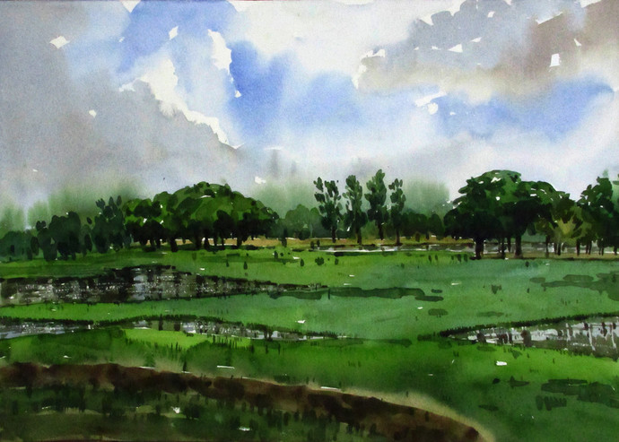 Farming Land by Asim Paul, Impressionism Painting, Watercolor on Paper, Green color