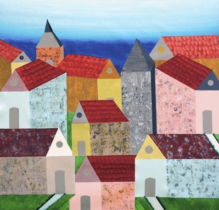 Village in Tuscany - Painting by Sumit Mehndiratta
