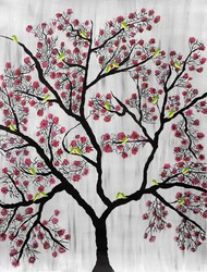 Cherry Blossom Digital Print by Sumit Mehndiratta,Decorative