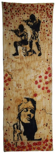 Roses with the Rose by Govind Vishwas, Conceptual Painting, Mixed Media on Board, Brown color