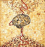 The Thinker Brain by Govind Vishwas, Fantasy Painting, Mixed Media on Canvas, Beige color
