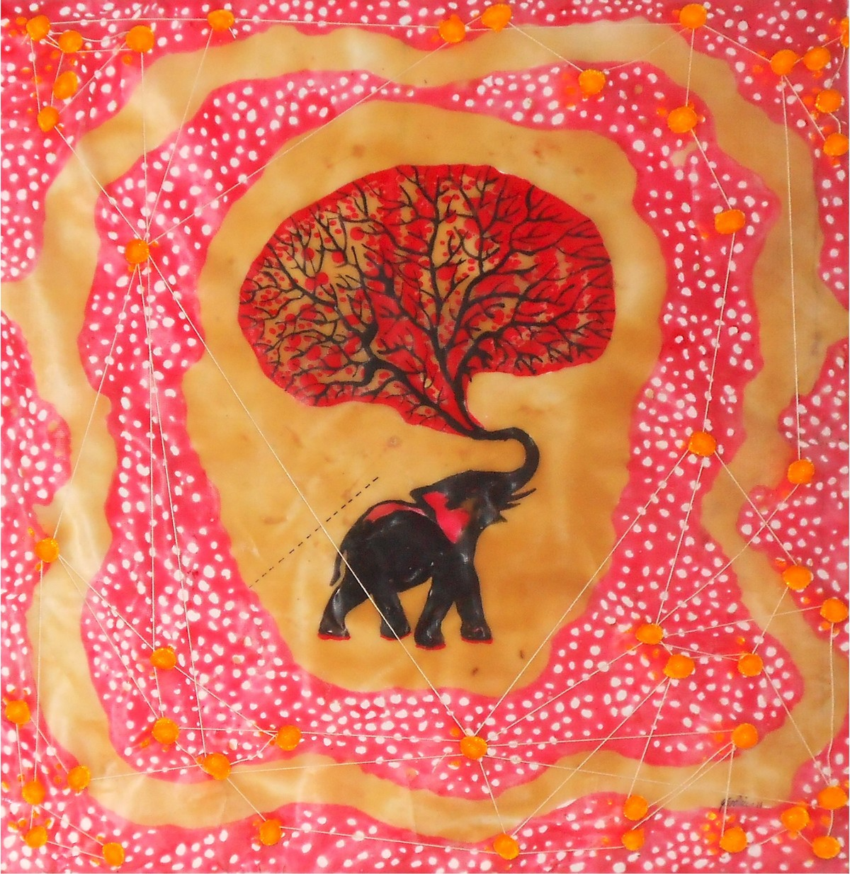 Unique Brain by Govind Vishwas, Fantasy Painting, Mixed Media on Board, Pink color