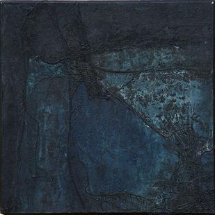 Beyond Sight by Bertina D'britto, Abstract Painting, Acrylic on Board, Blue color